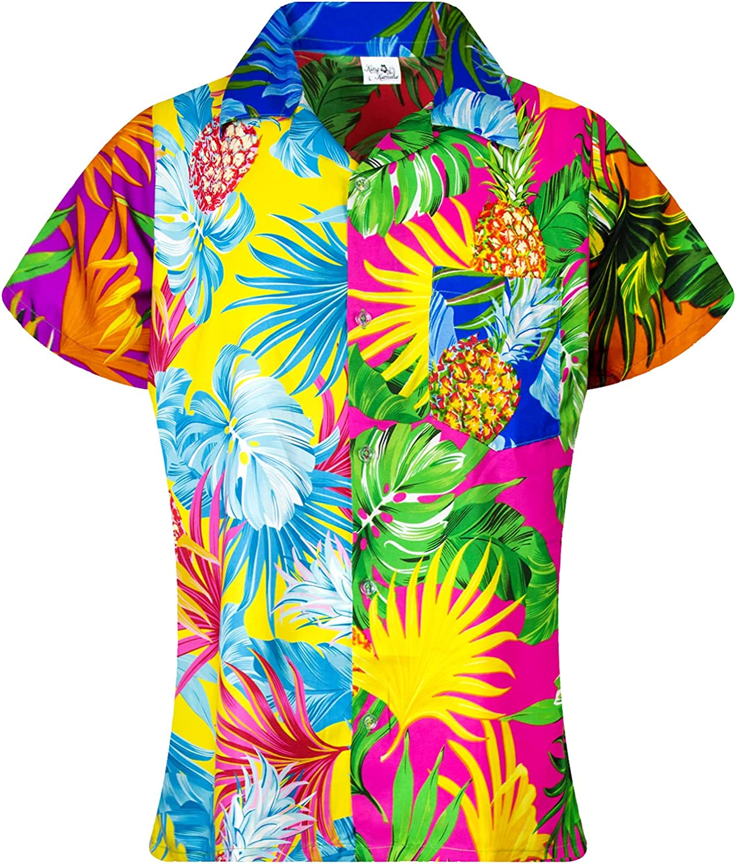 KING KAMEHA Funky Hawaiian Blouse Shirt, Shortsleeve, Print Pineapple Leaves, Mix, XL