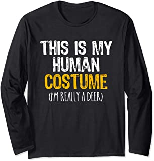 This Is My Human Costume Deer Halloween Lazy Easy Long Sleeve T-Shirt