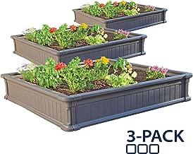 Lifetime 60069 Raised Garden Bed Kit, 4 by 4 Feet, Pack of 3