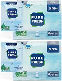 PureFresh Wet Wipes: Flushable, Individually Wrapped for Travel, 56 Singles