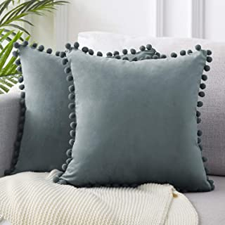 Top Finel Decorative Throw Pillow Covers 26 x 26 Inch Soft Solid Velvet Cushion Covers for Couch Sofa Bed 65 x 65 cm, Pack of 2, Grey