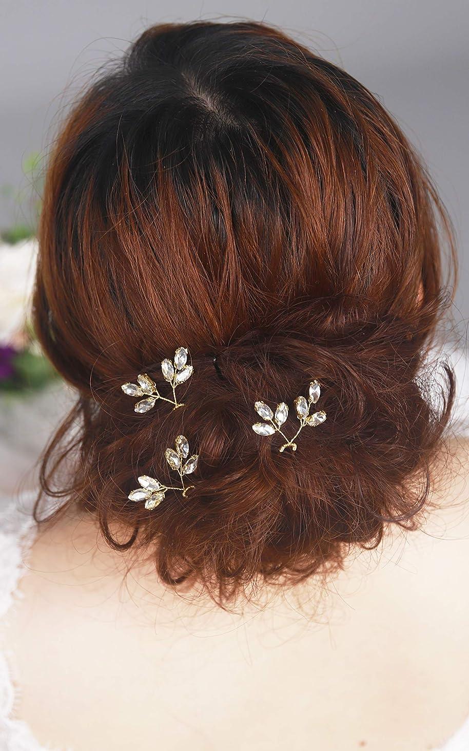 ポップヶ月目経験者Kricesbeauty 3 個 セットゴールド 葉 クリスタル ヘアピン 花嫁髪飾り 結婚式 レディース 髪の櫛 (ローズゴールド)