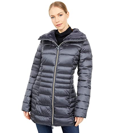 Save the Duck Iris Shiny Iridescent Faux Fur Lined Puffer Coat (Ebony Grey) Women