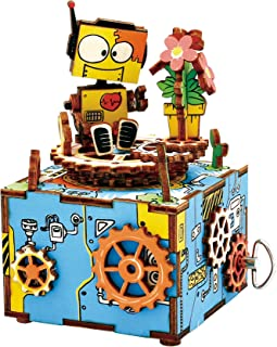 Hands Craft AM305 (Robot)   DIY 3D Wooden Build It Yourself Music Box Craft Kit with Hand Crank for Kids and Adults   Plays Somewhere Over The Rainbow.