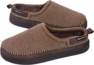 VeraCosy Men's Cotton Knit Terry Lined Slippers with Memory Foam