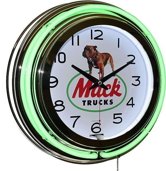 Mack Trucks Green Double Neon Clock Garage Man Cave Wall Decor