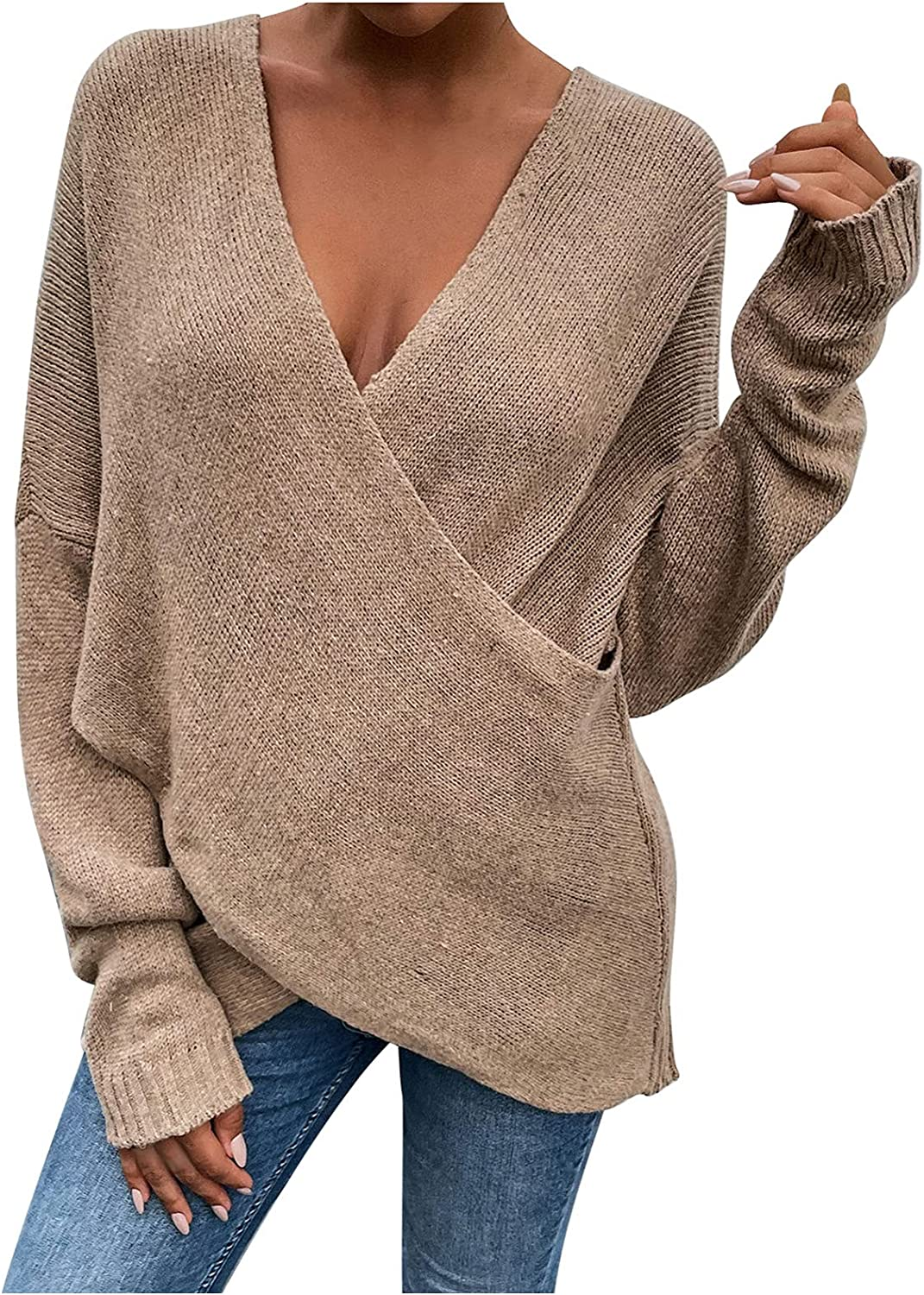 JIANGZHo Women V-Neck Criss Cross Sweater Tops Long Sleeve Solid Color Pullover Knitted Breathable Jumper Blouses