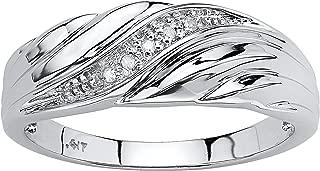 Men's 10K White Gold Genuine Diamond Accent Swirled Wedding Band Ring