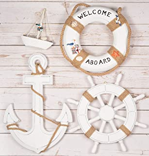 Wooden Nautical Lighthouse Anchor Wall Hanging Ornament, Beach Wooden Boat Ship Steering Wheel Wall Decor, Nautical Sailing Ship Table Display Decor, Nautical Life Ring Wall (White)