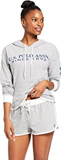 U.S. Polo Assn. Womens Cuffed Sleeve Athletic Hoodie Sweatshirt and Shorts Pajama Lounge Sleep Set