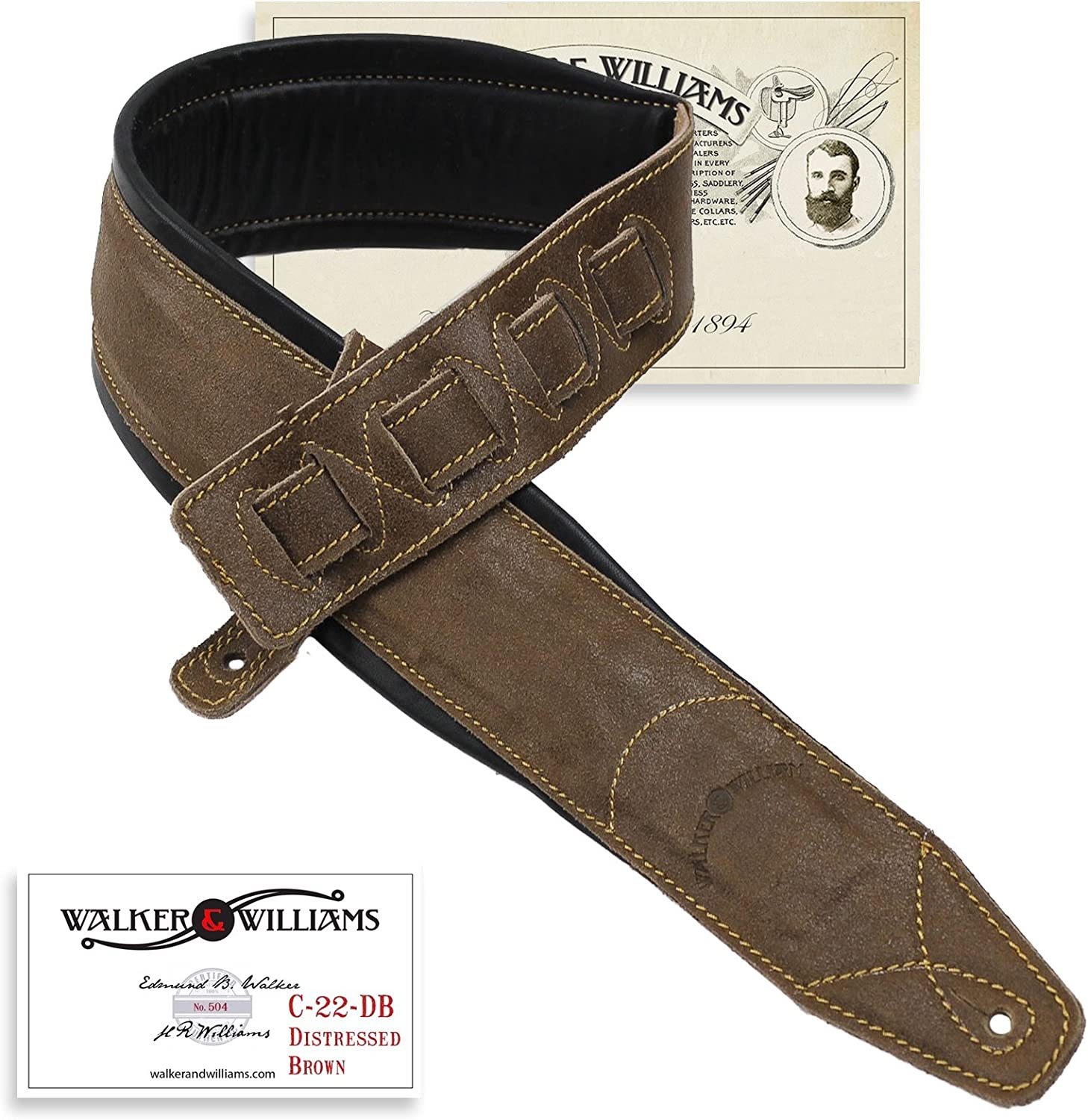 Walker Williams C-22-DBRN Distressed Brand Cheap Sale Venue Brown Leather Strapwith Japan Maker New
