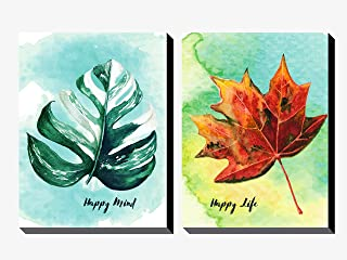 Decodrama Set of 2, Green and Red Leaves with Happy Mind Happy Life Quotes Wall Painting/Wall Art for Living and Dining Ro...