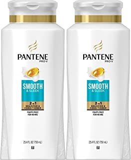 Sponsored Ad - Pantene, Shampoo and Conditioner 2 in 1, Pro-V Smooth and Sleek for Dry Hair, 25.4 fl oz, Twin Pack