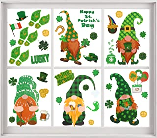 XIMISHOP 82pcs St Patrick`s Day Window Clings, Gnome Leprechaun Gold Coins Window Stickers Decal Static for Irish Party Or...