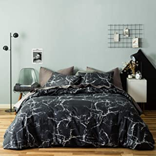 SUSYBAO 3 Pieces Duvet Cover Set 100% Natural Cotton King Size Black and White Marble Abstract Print Bedding with Zipper Ties 1 Duvet Cover 2 Pillowcases Luxury Quality Soft Breathable Durable