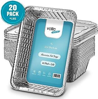 Bandejas De Papel Aluminio Desechables, Recipientes para Llevar De Papel Aluminio De 1l para Hornear, Cocinar, Congelar Y Almacenar, Bandejas con Tapas Plateadas (20 Pack)