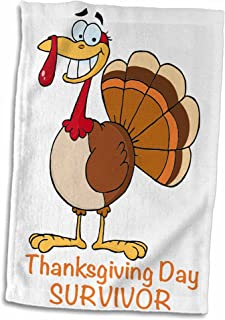 3D Rose Funny Thanksgiving Day Survivor Turkey Hand/Sports Towel, 15 x 22