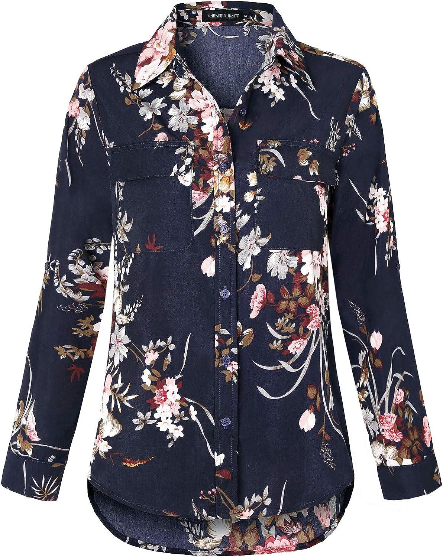 MINTLIMIT Womens Roll-up Short Sleeve Blouse Pocket Button Down Shirts High Low Hem Tops