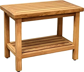 """Asta 24"""" Coast Solid Teak Indoor Outdoor Shower/Bath/Spa Bench, Side Table, with Bottom Shelf, Fully Assembled, TB-121A"""