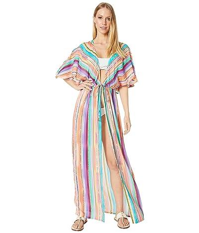 Luli Fama Heat Waves Long Open Tunic Cover-Up (Multicolor) Women