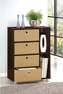 Furinno Multipurpose Storage Cabinet w/4 Bin Drawers, Espresso/Brown