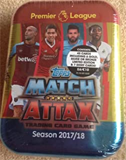 2017 / 2018 Topps Match Attax English Premier League Soccer Card Collectors Tin With 45 Cards Including a Limited Edition Card and 7 Special Shiny Cards. USA Seller.