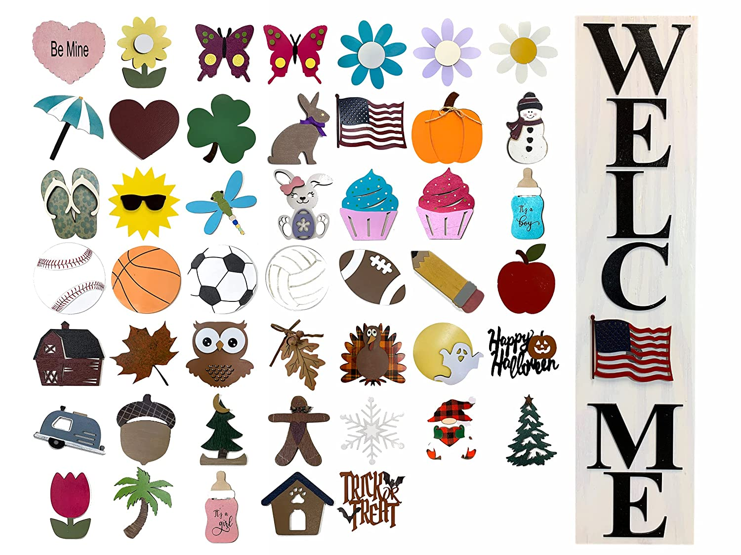 WELCOME SIGN for Front Porch Wholesale Magnetic Fashion 6 + PIECES SEASON CHANGER