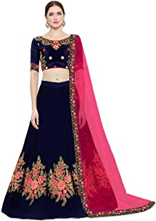 7abafa45d5 KEDARFAB Women's Cotton Silk Embroidery Lehenga Choli with Blouse Piece  (Free Size, Blue Pink