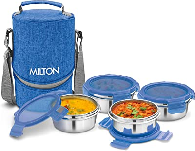 Milton Chic 4 Stainless Steel Tiffin Box, Set of 4, Blue