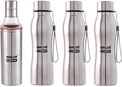 NIRLON Two in ONE Combo USE for KITCHENWARE Pack of 04 (1 Slim Oil Pot and 3 Water Bottle)1000 ML