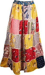 Mogul Interior Women's Patchwork Skirt Ethnic Bohemian Chic A-Line Boho Long Skirts S/M Yellow, Red