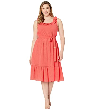 MICHAEL Michael Kors Plus Size Pucker Square Neck Midi Dress (Sea Coral) Women
