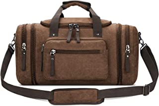 Toupons 20.8'' Large Canvas Travel Tote Luggage Weekender Duffle Bag (Coffee)