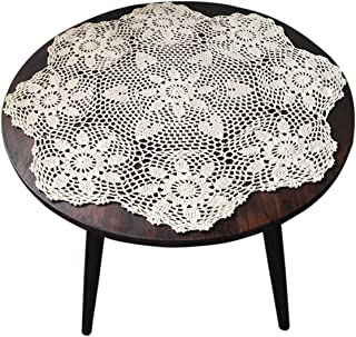 gracebuy 24 Inch Beige Round Handmade Cotton Crochet Lace Tablecloth