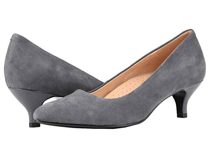 1950s Style Shoes | Heels, Flats, Saddle Shoes Trotters Kiera Dark Grey Kid Suede Leather Womens 1-2 inch heel Shoes $99.95 AT vintagedancer.com