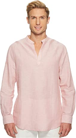 Perry Ellis - Long-Sleeve Solid Linen Cotton Popover Shirt