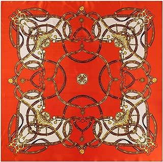 Xxadliy Satin Printed Square Scarf National Wind Shawl 90 * 90cm (Color : Orange, Size : 90X90cm)