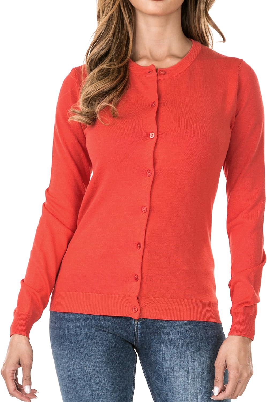 Nolabel Women's Classic Botton Down Long Sleeve Round Crew Neck Kint Cardigan Sweater (Plus Size)
