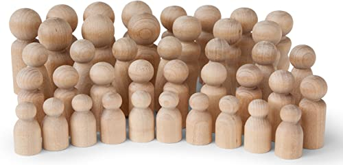 Koalabu Natural Unfinished Wooden Peg Doll Bodies, Quality People Shapes, Great for Arts and Crafts, Birch and Maple ...