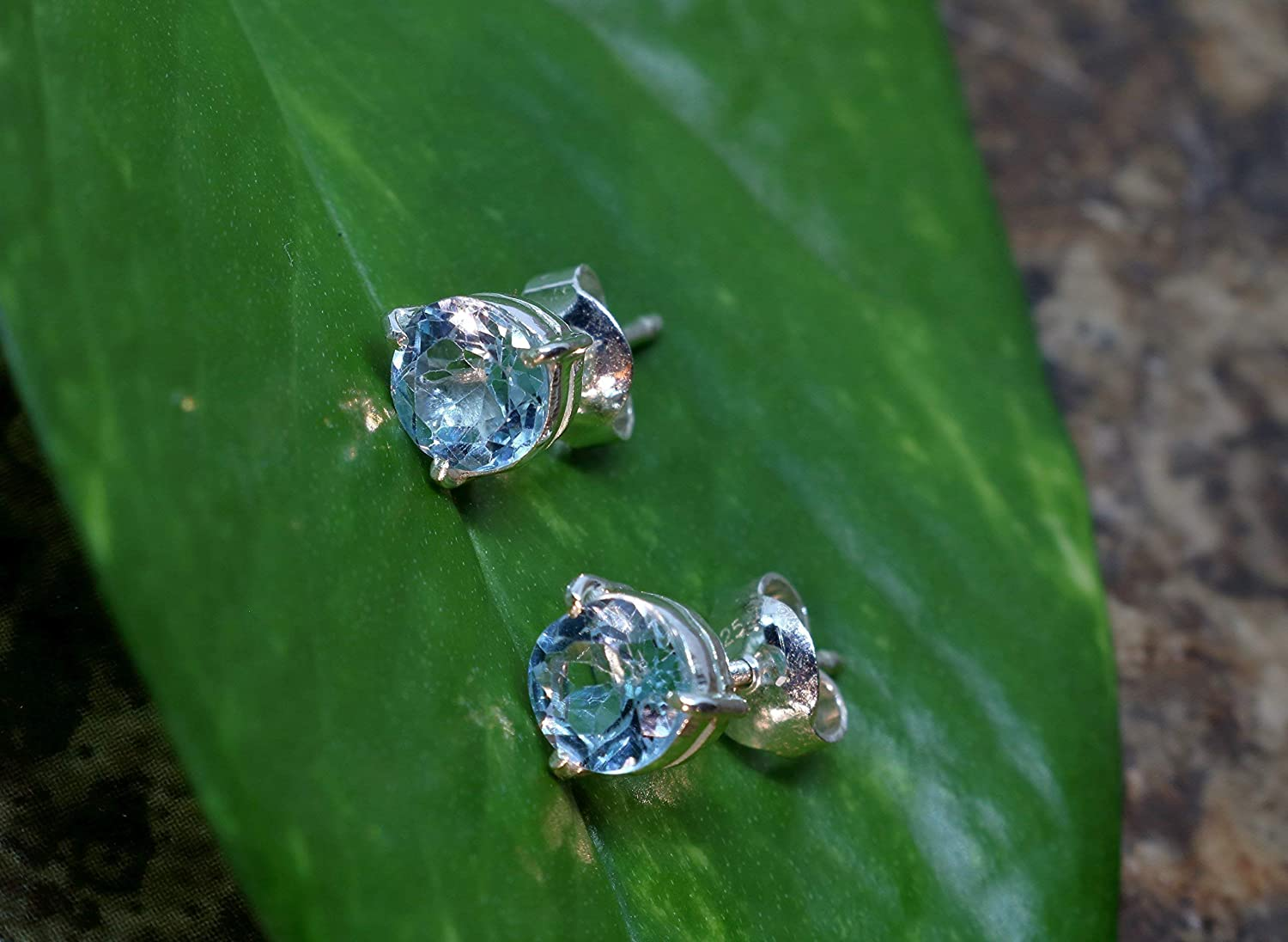 Cheap sale Sterling Silver At the price of surprise Handmade Stud Earrings Topaz with Blue G Natural