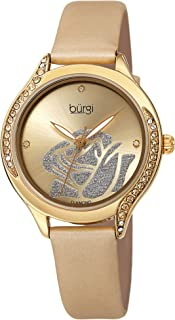 Swarovski Colorful Crystals Women's Watch - Rose Cut-Out Dial with Glitter Powder -Genuine Leather Skinny Strap - 4 Diamond Markers Patterned Crystal Bezel-BUR257