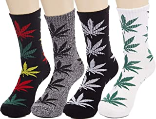 LUCKY BEN, 4pair-pack Marijuana Weed Leaf Printed Cotton High Socks, Mix Colors, fit for shoe size 7-11