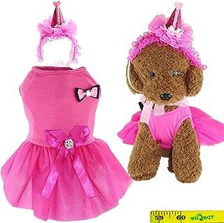 Wiz BBQT Sweet Fashion Puppy Dog Cat Princess Birthday Lace Cake Tutu Dress and Cute Headband for Dogs Cats Pets