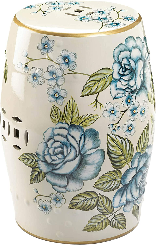 Accent Plus Butterfly Garden Ceramic Stool 13x13x19 Furniture Decor
