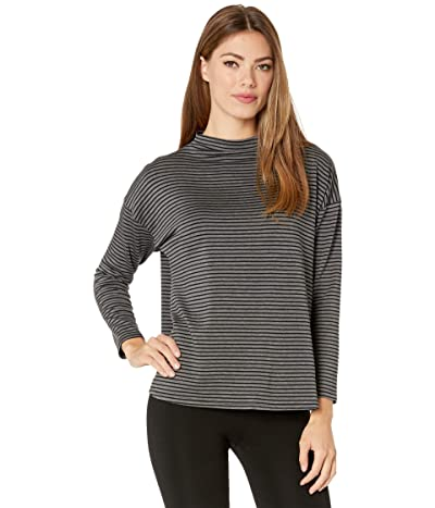 Eileen Fisher Funnel Neck Box Top (Ash Black) Women