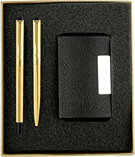 Parker Vector Gold Trim Roller Ball Pen and Ball Pen Luxury Gift Set, Blue Ink