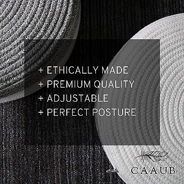CAAUB - Premium Meditation Cushion, Beautiful and Decorative Cotton Rope Cover, Adjustable Buckwheat Filling - Round Floor Pi