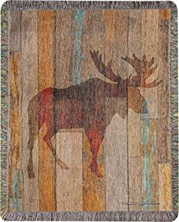 CC Home Furnishings Brown Animal Themed Moose Head Tapestry Throw Blanket with Fringed Border 60
