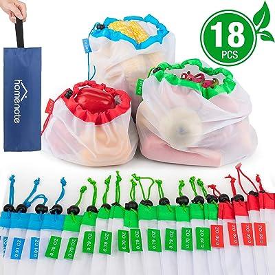 HOMENOTE Reusable Produce Bags 18Pcs, Eco-Frien...