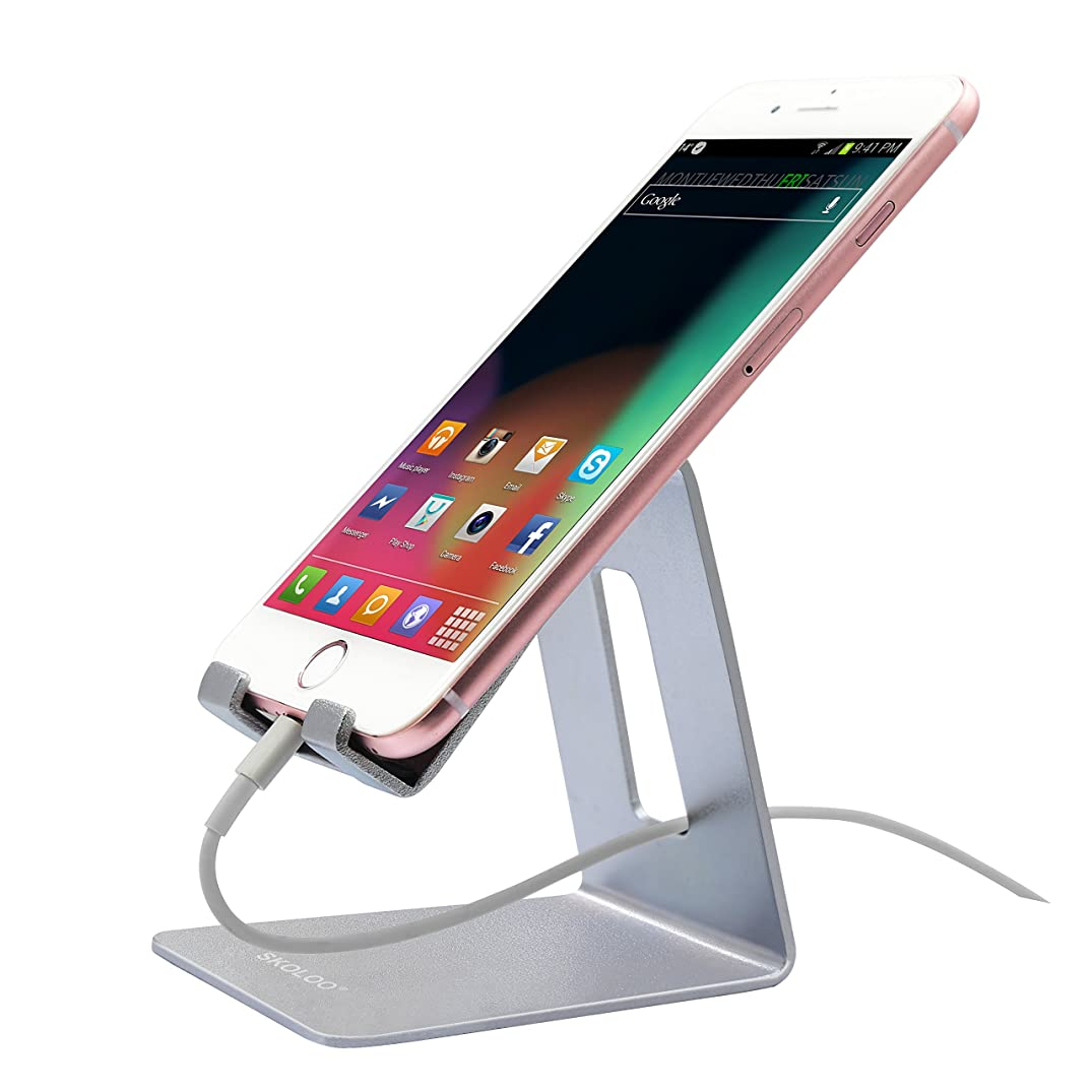 Skoloo Solid Aluminum Desktop, Cell Phone Stand Cradle Holder Dock for iPhone 7,7 Plus,Samsung Galaxy S8 Plus S7,LG Stylo3 G6,Tablet,E-Readers,iPad Mini and All Smartphones - Silver
